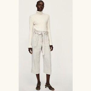 NWT Zara Linen Paper Bag Pants